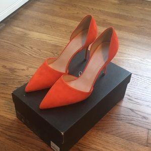 Jcrew d'orsay pumps, size 8, color bright orange